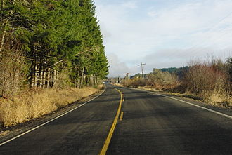 Oregon Route 202 - The highway near Mist