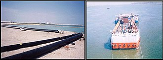Ocean thermal energy conversion - India – pipes used for OTEC (left) and floating OTEC plant constructed in 2000 (right)