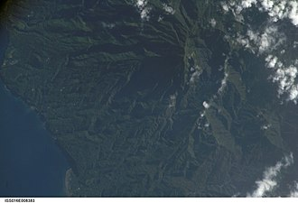 Pico de São Tomé - Satellite imagery of the west of the island featuring the peak and its forested area