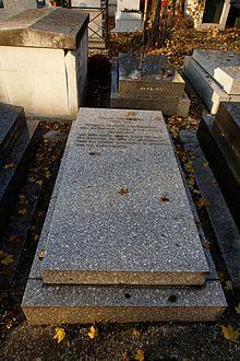 Está enterrado enel cementerio Père-Lachaise(10ªdivisión).