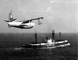 P5M-1 VP-46 over Calmar Line freighter 1950s.jpeg