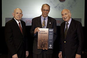 Thermo Electron - Arvin Smith and George Hatsopoulos receive the 2011 Pittcon Heritage Award from Tom Tritton of the Chemical Heritage Foundation