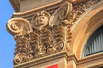 The preserved facade of the building's pilasters, 2014 Pacific Electric Building, 610 S. Main Downtown Los Angeles 6.jpg