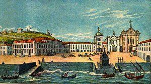 José Maurício Nunes Garcia - The Palace Square of Rio de Janeiro, 1808. Watercolor by Richard Bates.