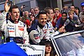 Pagenaud, Lamy, and Bourdais Le Mans drivers parade 2011.jpg