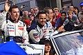 Pagenaud, Lamy, and Bourdais Le Mans drivers parade 2011.jpg