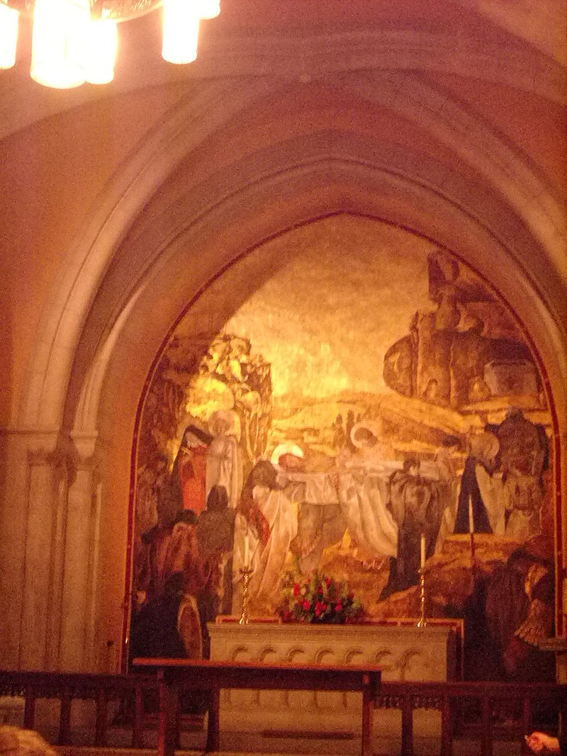 Painting of Jesus%27 burial at Washington National Cathedral.JPG