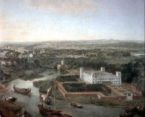 Syon House - Idealised view of the house, All Saints Church, Isleworth and both banks of the River Thames at high water between 1700 and 1750 looking towards the south, before the construction of Richmond Bridge.