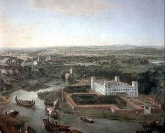 Syon House - Idealised view of the house, All Saints Church, Isleworth and both banks of the River Thames at high water between 1700 and 1750 looking towards the south, before the construction of Richmond Bridge