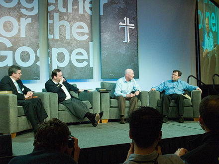 Together For the Gospel, an evangelical pastors' conference held biennially. A panel discussion with (from left to right) Albert Mohler, Ligon Duncan, C. J. Mahaney, and Mark Dever. Panel Discussion 2.jpg