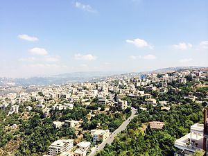 Aley - Panoramic view of Aley from Ras Il Jabal in summer 2014 (By Kamil Chehayeb)