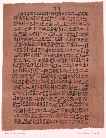 A remedy for asthma from the Ebers Papyrus, in hieratic text on papyrus