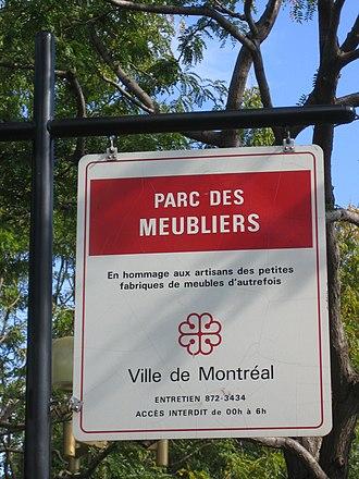 Little Burgundy - Image: Parc des meubliers (Montreal) sign