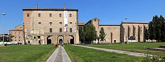 Parma - View of Palazzo della Pilotta in the Piazza della Pace. The rebuilt part on the right is where once was the church of St.Peter. The large hole was caused by an Allies bombing.