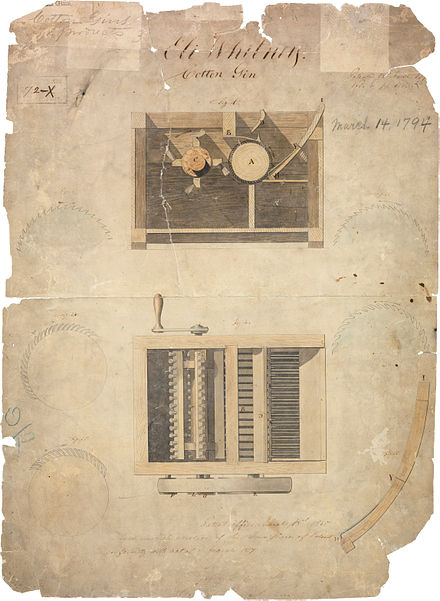 Eli Whitney's original cotton gin patent, dated March 14, 1794 Patent for Cotton Gin (1794) - hi res.jpg
