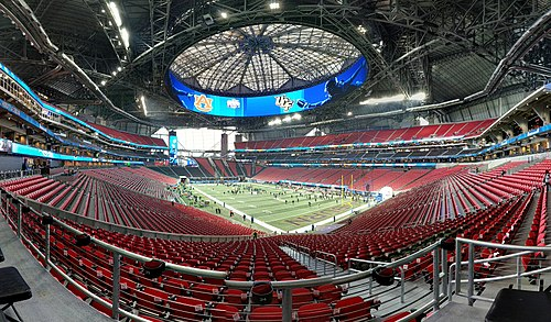 The stadium prior to the 2018 Peach Bowl. Peach Bowl Pre-game (27654674649).jpg