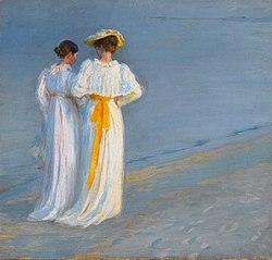 Anna Ancher og Marie Krøyer på stranden ved Skagen