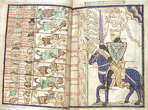 William Perault - Elaborate illustration to 13th-century manuscript of his Summa de virtutibus et vitiis or Summa vitiorum, showing a symbolic knight protected by the Shield of the Trinity preparing to do battle with the seven deadly sins.