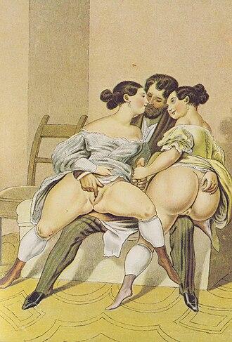"""Threesome - """"Der Gemeinsame Freund"""" by Peter Fendi, ca.1910"""
