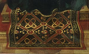 Oriental carpets in Renaissance painting - Petrus Christus, Virgin and Child with Saints Jerome and Francis (detail), 1457, with a realistic depiction of a pile-woven carpet. Städel Museum, Frankfurt