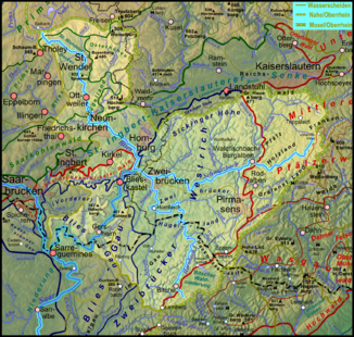 Map of the catchment area;  Schwarzbach and Hornbach are also highlighted.