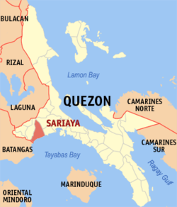 Map of Quezon showing the location of Sariaya