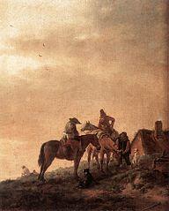 Three Horsemen halting at a Well