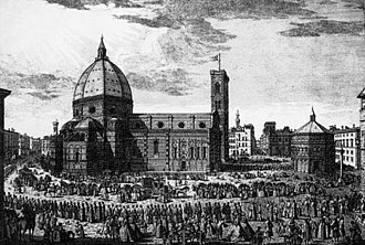Florence Cathedral - Procession outside the cathedral during the 18th century