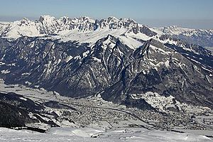 Sargans - View from Mt. Laufböden toward Mels and Sargans