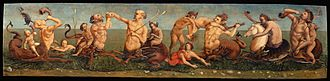 Piero di Cosimo - Tritons and Nereids (1500), oil on panel, 37 x158 cm, Milano, Altomani collection