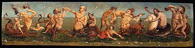 Piero di Cosimo, Tritons and Nereids, Oil on Panel, 37 x158 cm, Milano, Altomani collection.jpg