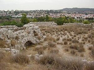 Highway 38 (Israel) - Tel Beit Shemesh overlooking modern city