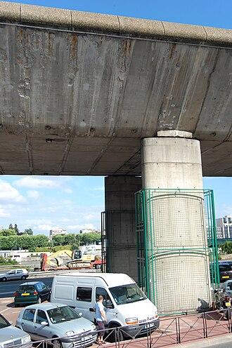 A13 autoroute - A pile of the motorway's bridge near Paris