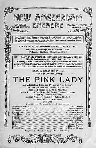 Ivan Caryll - Programme for ''The Pink Lady''