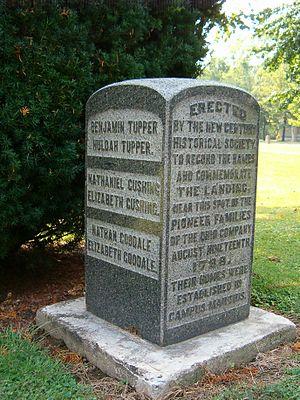 Benjamin Tupper - Monument at Marietta, Ohio to pioneer families including Benjamin and Huldah Tupper