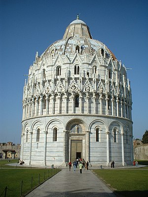 The Baptistry of the Cathedral of Pisa.