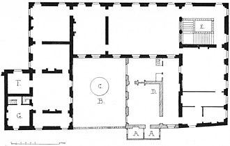 Petit Luxembourg - Image: Plan du premier étage du Petit Luxembourg au XVII Ie siècle Hustin 1910 p 77
