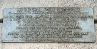 Japanese coup d'état in French Indochina - Plaque on Avenue Général-Lemonnier in Paris in his honour