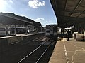 Platform of Tabira-Hiradoguchi Station and train of Matsuura Railway.jpg