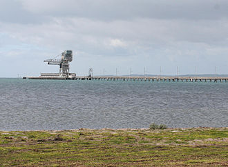 Point Henry smelter - The wharf and unloader at Point Henry