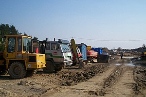 Land consumption - Road construction in Olsztyn, Poland