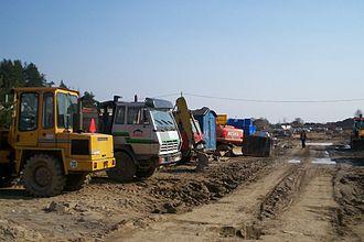 Land consumption - Road construction in Olsztyn, Poland