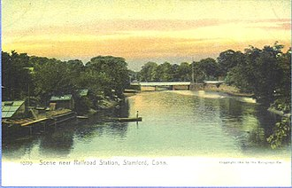 Rippowam River - Image: Postcard Stamford CT Mill River Scene Near RR Sta 1901TO1907