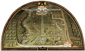 Villa di Pratolino - Pratolino, the lower half of the garden, by Giusto Utens, 1599 (Museo Topografico, Florence).