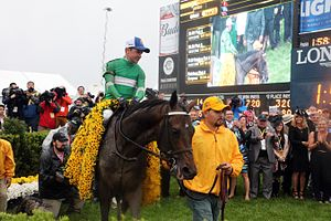 Kent Desormeaux - Desormeaux and Exaggerator in the Preakness winner's circle