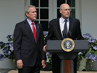 Henry Paulson - Paulson (right) with President George W. Bush as his nomination to become Treasury Secretary is announced
