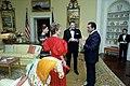President Ronald Reagan Mohammed Hosni Mubarak Mrs. Mubarak Nancy Reagan at The State Visit of President Mohammed Hosni Mubarak of Egypt Arrival for Dinner in The Residence.jpg