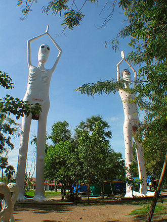 Ghosts in Thai culture - Statues of Pret at Wat Phai Rong Wua, Suphanburi