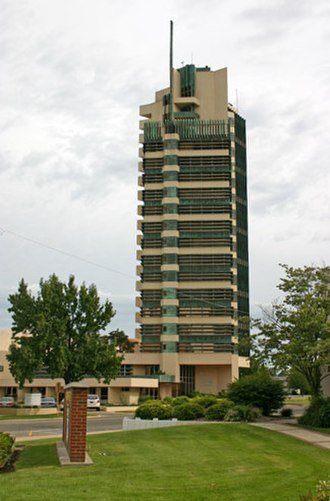 Bartlesville, Oklahoma - Price Tower, located downtown, was designed by Frank Lloyd Wright