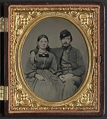 Private Edward A. Cary of Company I, 44th Virginia Infantry Regiment, in uniform and his sister, Emma J. Garland née Cary LOC 7029382503.jpg